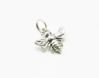 Sterling Silver Bee Charm, Honey Bee Charm, Sterling Silver Bee Charm, Silver Bee Charm, Bee Pendant, Silver Honeybee Charm, Save the Bees