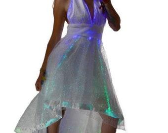 Monroe Style Hi Low Halter Dress - LED Dress - Fiber Optic Dress - Glow in  the Dark Dress - Monroe Style Dress - Light Up Dress - TrYptiX a20f2237c