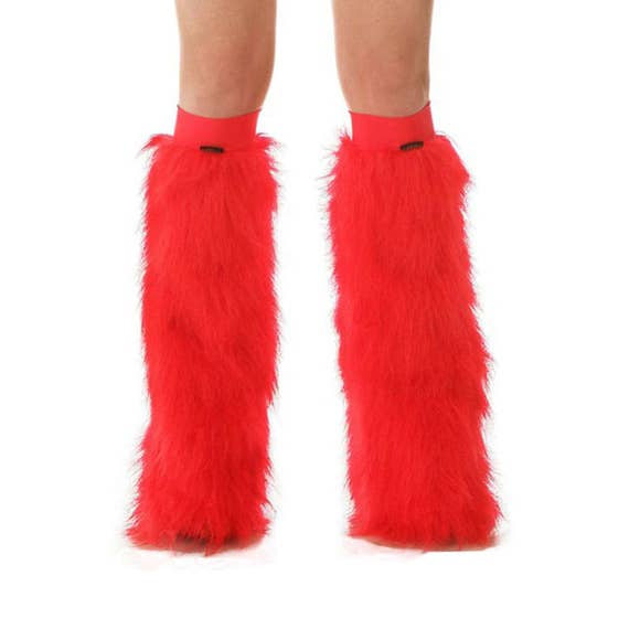 NEON UV RED WHITE GREEN FLUFFIES FLUFFY LEGWARMERS FURRY BOOT COVERS  CHRISTMAS