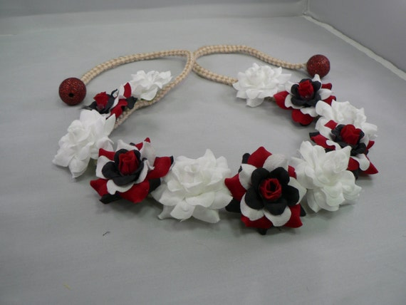 9e454cadb78bd TrYptiX Red Black White Flower Crown Headband Hemp Clothing