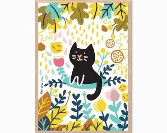 CAT | In The Bush Poster : Modern Illustration Art Wall Decor Print