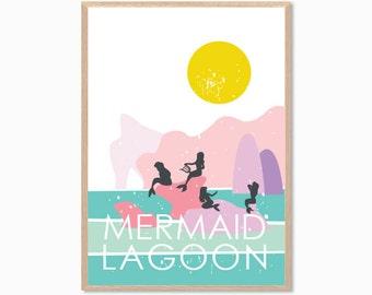 PETER PAN | Mermaid Lagoon Poster : Modern Illustration Disney Movie Retro Art Wall Decor Print