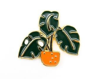 PLANT | Cute Monstera in Orange Pot Enamel Lapel Pin