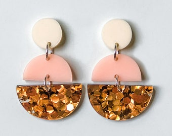 EARRINGS | Peach Bronze Melbourne (Three Tiered) : Big And Fancy Hello Miss May Drop Earrings