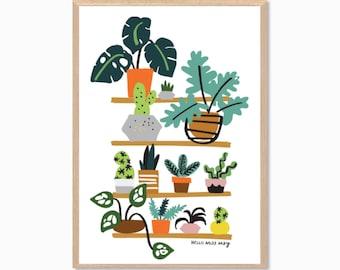 PLANTS | Shelfie Poster : Modern Illustration Art Wall Decor Print