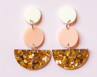 EARRINGS | Peachy Bronze Sailor Moon (Three Tiered) : Big And Fancy Hello Miss May Drop Earrings