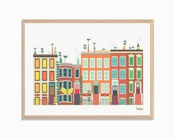 AMERICA | Baby Went to Brooklyn Poster  : Modern New York Townhouses Illustration Retro Art Wall Decor Print