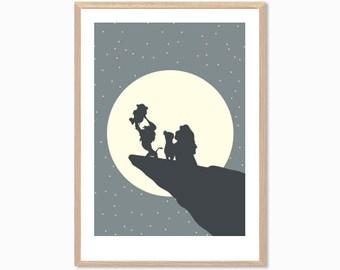 DISNEY | Simba and / or Family Poster : Lion King Modern Nursery Illustration Retro Art Wall Decor Print