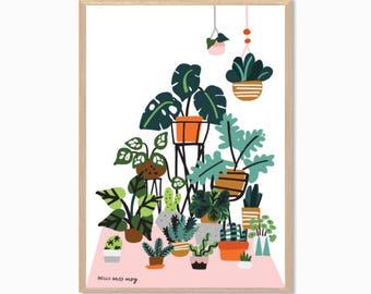 PLANTS | Crazy Plant Lady Poster : Modern Illustration Retro Art Wall Decor Print