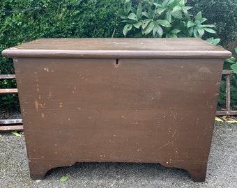 Victorian pine blanket box with original finish