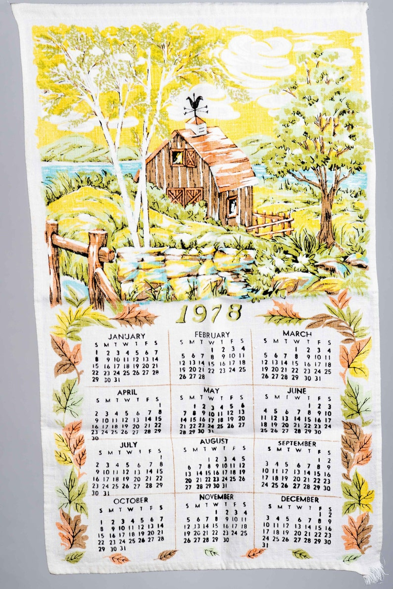 1978 Calendar September.1978 Linen Barn Tea Towel Calendar