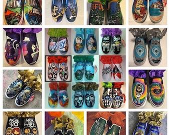 Custom Hand Painted VANS slip on shoes, character shoes, bands shoes, portrait shoes, hand painted, made to order..