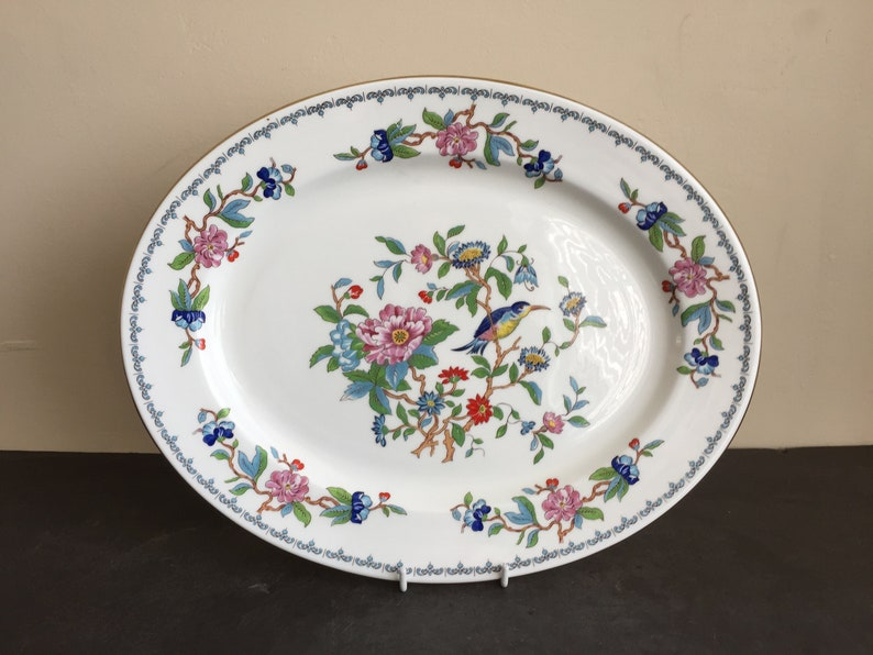 Vtg AYNSLEY Bone China PEMBROKE Bird Florals Oval Serving Platter 13 34