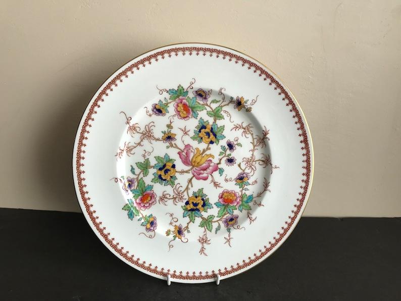 Vtg ROYAL CAULDON Bone China KEEPSAKE Flowers Gold Trim 5 Pieces Place Setting