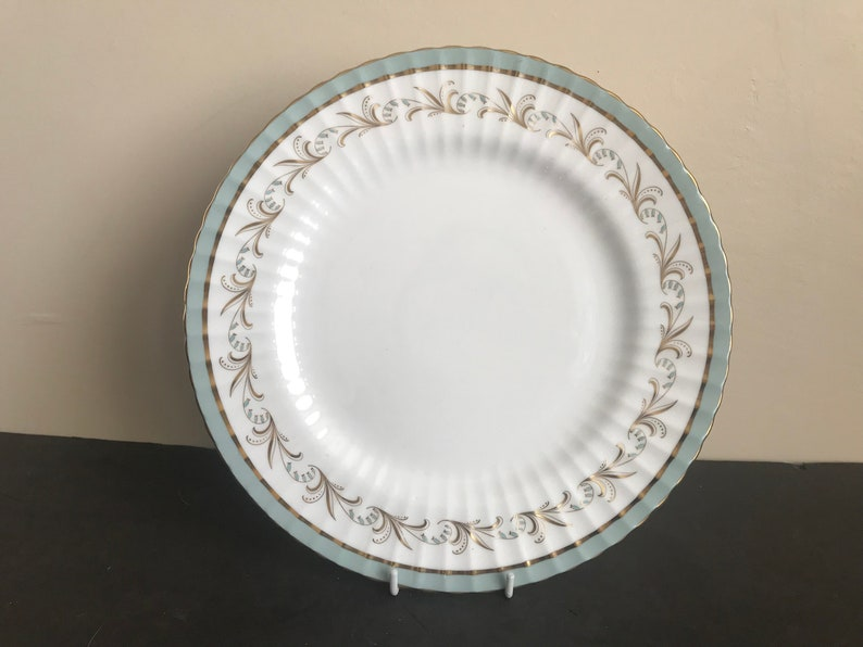 Vtg PARAGON Bone China D/'AMOUR Green Band Ribbed 5 Pieces Place Setting