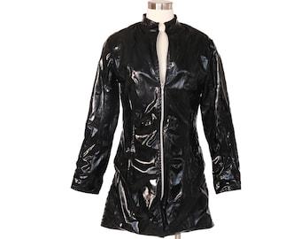 Women Black PVC Look Wet Vinyl Trench Shiny Rain Coat Waterproof Jacket Matrix