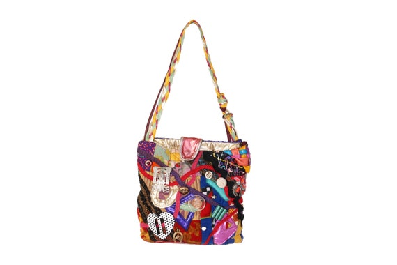 Vintage 80's Metallic Patchwork Button Tote Bag |