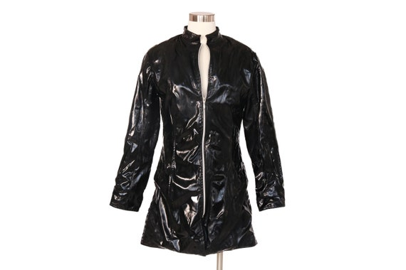 Vintage PATENT Zip up Black Vinyl Dress Coat Shiny