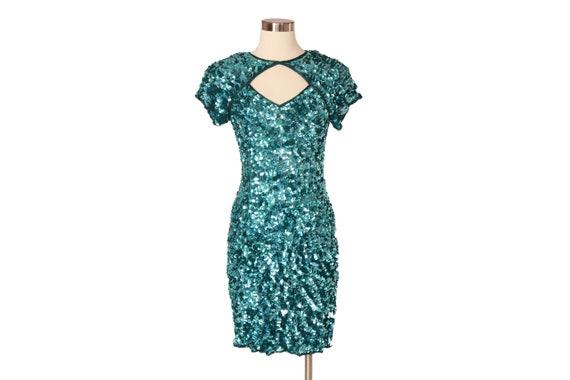 Vintage Sequin Short Sleeve Keyhole Dress | Aqua B