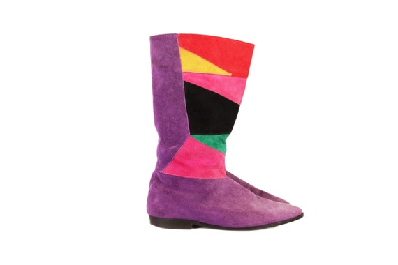 Vtg 80S PATCHWORK SUEDE BOOTS Size 8