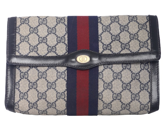 Vtg 70s GUCCI STRIPE MONOGRAM Envelope Clutch Bag