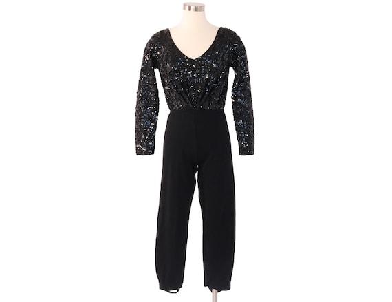 Vintage DONNA KARAN Black SEQUIN Knit Stirrup Jump