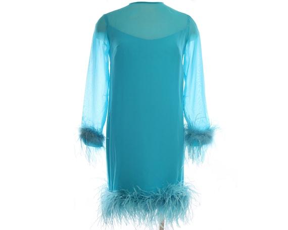 Vtg 60s CHIFFON FEATHER Mod Shift Dress