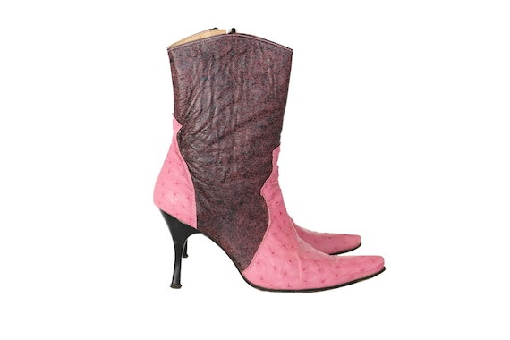 Vintage 80s Pink Leather Cowboy Boots | Heeled Wes