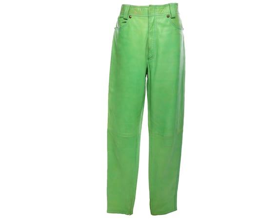 Vtg 90s GIANNI VERSACE Lime Green Leather Men's Tr