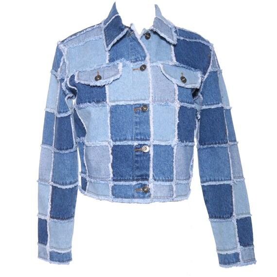 Vtg 90s PATCHWORK DENIM Crop Fitted Denim Jacket S