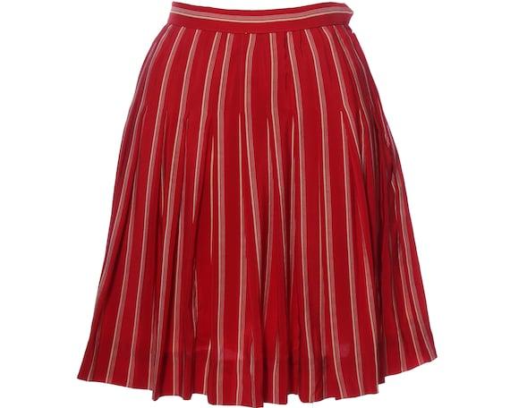 Vtg 60s CHANEL SILK Striped Pleated Mini Skirt XS