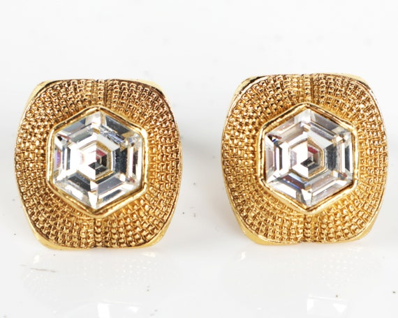 Vtg CHANEL Gold Plated Hexagon Rhinestone CLIP ON