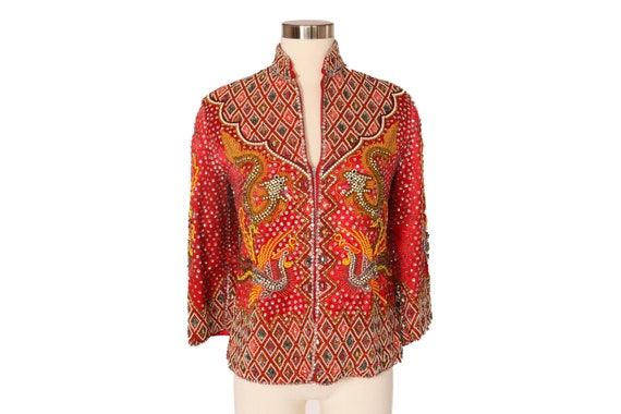 Vintage Hand Beaded Asian Dragon Jacket | Sequin S