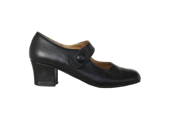 Vintage Black Leather Mary Jane Shoes   Block Heel