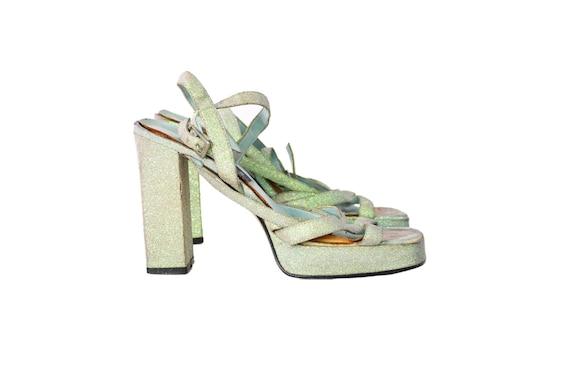 Vintage GLITTER STRAPPY Chunky PLATFORM Heels Size