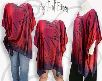 Silk crepe deep red tunic, resort wear, bird gift, slimming blood red plus sized clothing, off shoulder shirt bohemian clothing, birder gift