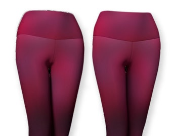 Poppy red and purple fold over capris and long ombre leggings, Eco-friendly contemporary leggings high waist, Red and gray spandex leggings