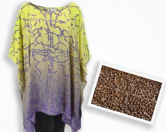 Ombre digital print silk kaftan, contemporary maternity evening dresses, 3x plus size clothing beach dress, purple loose top summer clothes