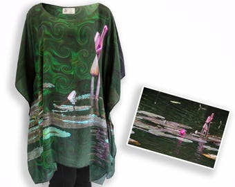 Lotus abstract floral tunic, emerald green dress, 12 year anniversary silk kaftan, contemporary 3x plus size clothing, loose top beach dress