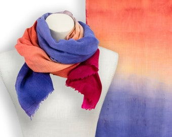 Hand painted periwinkle blue to deep pink pashmina or wool silk scarf; Indian pashmina cashmere scarf pink to blue ombre evening shawl wrap