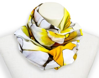 c5c55559be7b5 White and yellow flower shawl, Bright yellow summer scarf, Turban cotton  head scarf floral lightweight scarf, Yellow beach sarong; pool wrap