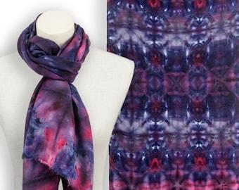 Handdyed navy blue and red scarf; Luxury pashmina scarf red blue shawl; Dark blue red kashmiri shawl; Mens winter pashmina wrap; Blue scarf