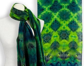 Itajime shibori ice dye emerald green pashmina scarf; Blue green cashmere scarf engagement present; Green blue scarf evening shawl and wraps
