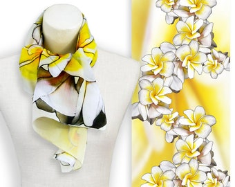 Bright yellow frangipani flower scarf, Floral print beach wedding stole, Pure silk white and yellow scarf, Head scarves thin and lightweight