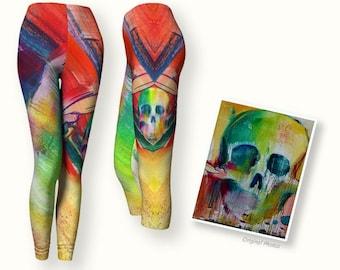 Colorful asymmetrical leggings, skull leggings in capri and full length variations; rocker leggings Day of the Dead legging, gym to day wear