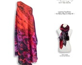 Abstract blood red and purple tie dye layering dress, dark red wedding plus size maxi dress, cruise wear tall women clothing sheer dress