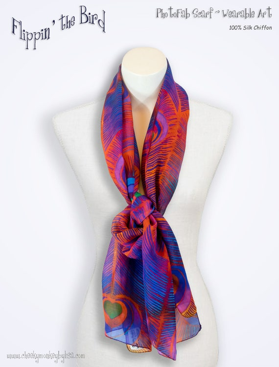 Women Birthday Gift Stylish Silk Scarf Printed Abstract in Gray Violet Teal