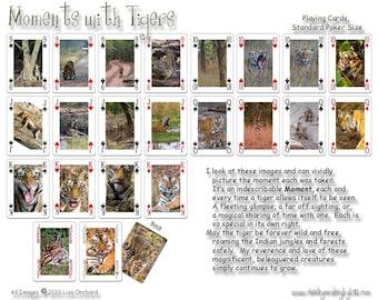 Tigre du Bengale, cartes à jouer deck, cadeau pour amoureux des animaux, cadeau de Noël pour amateur de tigre de bas, pont photographie tigre jeu, sauvage