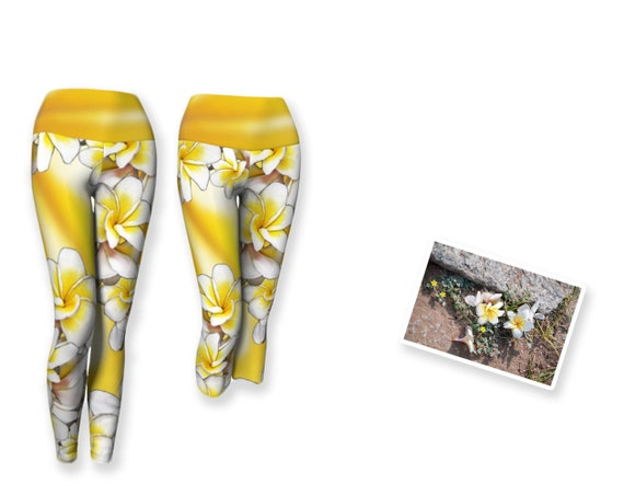 product of Canada eco-poly spandex fabric easy care fabric vibrant floral pink long leggings Asymmetrical print full length leggings