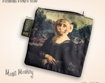 Mona Lisa monkey zipper bag, funny monkey theme baby shower, leonardo da vinci art spoof gift idea for friends, cute bag sanitary pad holder